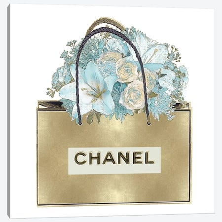 Gold Bag With Bouquet Canvas Print #MDL8} by Madeline Blake Canvas Art