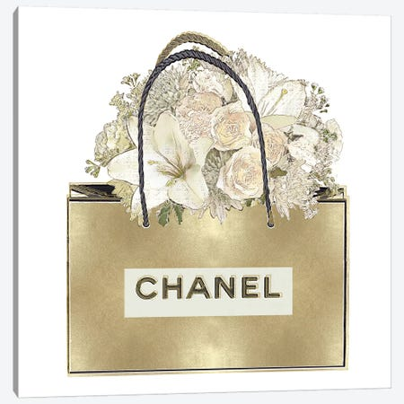 Gold Bag With Floral Bouquet Canvas Print #MDL9} by Madeline Blake Canvas Art