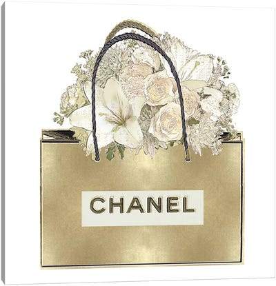 Gold Bag With Floral Bouquet Canvas Art Print