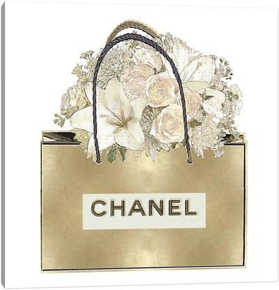 Gold Bag With Floral Bouquet Canvas Art Print