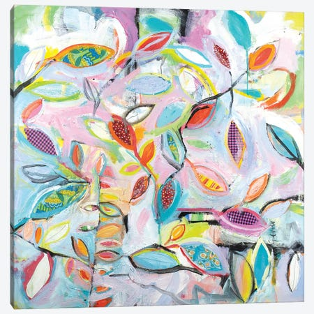 Checkered Leaves Canvas Print #MDM7} by Michelle Daisley Moffitt Canvas Art