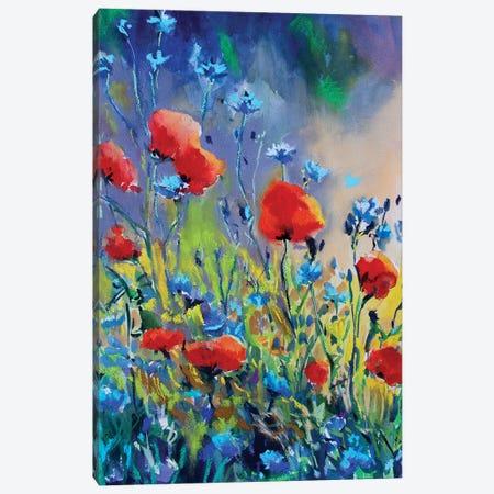 Flores Rojas II Canvas Print #MDP13} by Marina Del Pozo Canvas Art