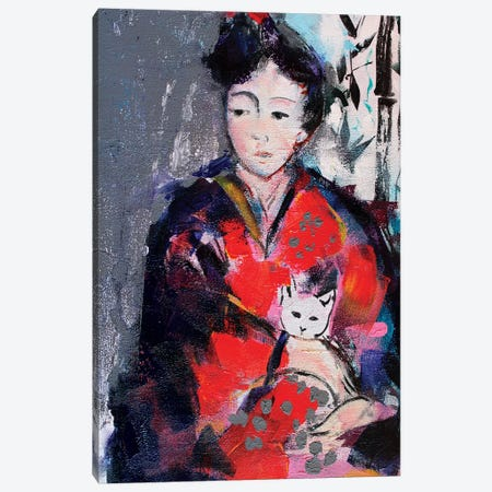 Geisha And Cat I Canvas Print #MDP20} by Marina Del Pozo Canvas Print