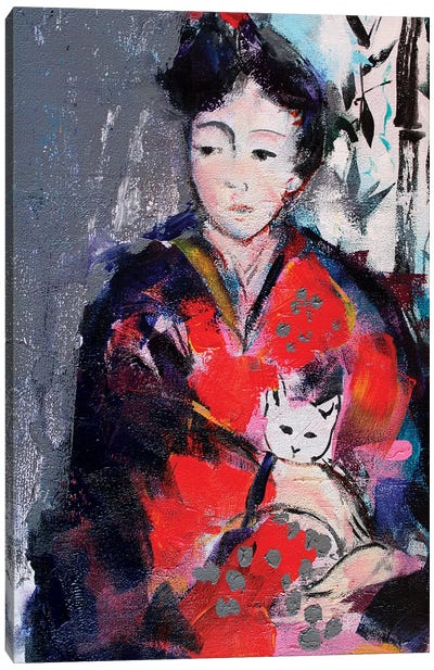 Geisha And Cat I Canvas Art Print