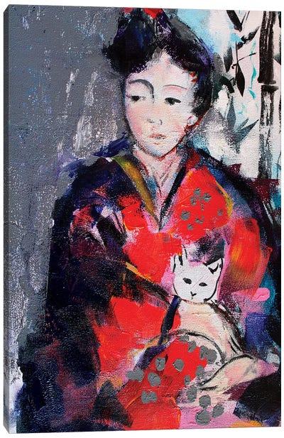 Geisha And Cat I Canvas Art Print