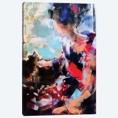 Geisha And Cat II Canvas Print #MDP21} by Marina Del Pozo Canvas Print