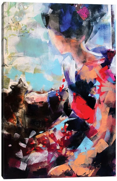 Geisha And Cat II Canvas Art Print