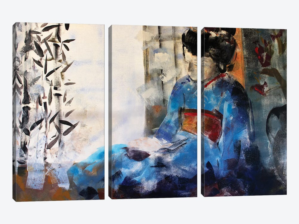 Geisha Sleeping by Marina Del Pozo 3-piece Canvas Art Print