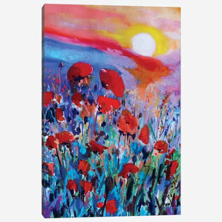 Red Flowers I Canvas Print #MDP52} by Marina Del Pozo Canvas Artwork