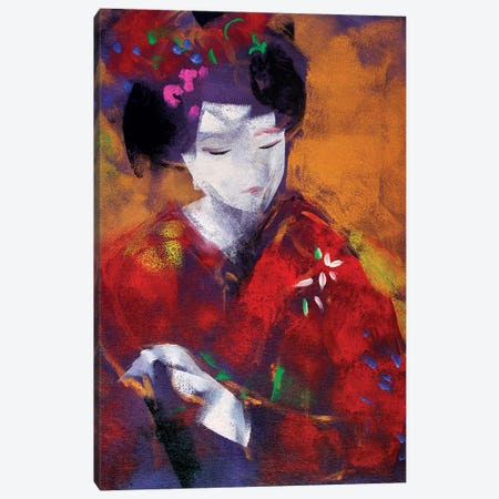 Red Geisha I Canvas Print #MDP53} by Marina Del Pozo Canvas Wall Art