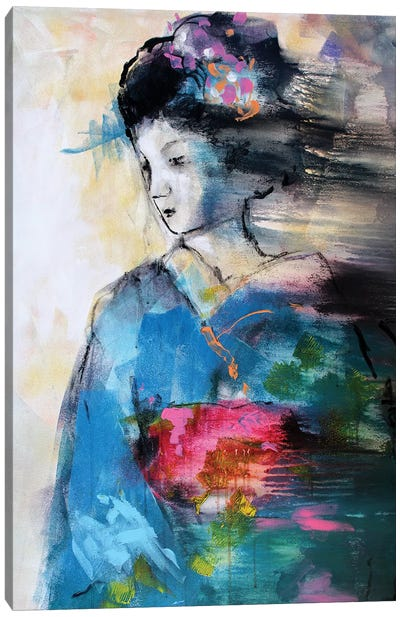 Blue Geisha Canvas Art Print