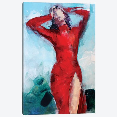 Woman In Red Canvas Print #MDP77} by Marina Del Pozo Art Print