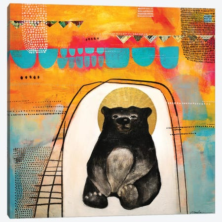 Bear Finds The Middle Way Canvas Print #MDR10} by Madara Mason Canvas Wall Art