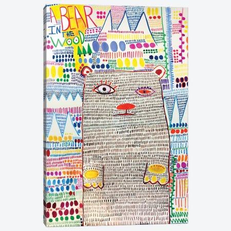 Bear In The Wood Canvas Print #MDR11} by Madara Mason Canvas Art