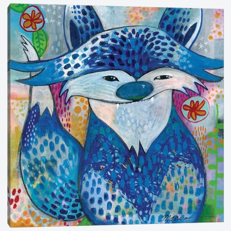 Blue Fox Canvas Print #MDR16} by Madara Mason Canvas Art Print