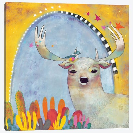 Deer And Cactus Canvas Print #MDR20} by Madara Mason Canvas Art Print