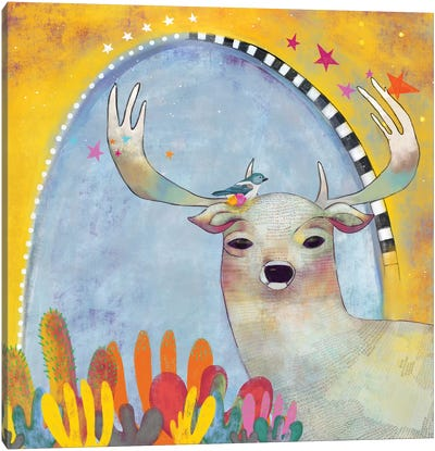 Deer And Cactus Canvas Art Print