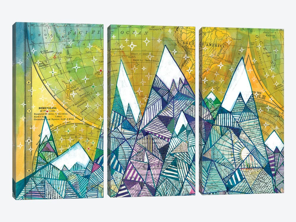 Maps And Mountains II by Madara Mason 3-piece Canvas Print