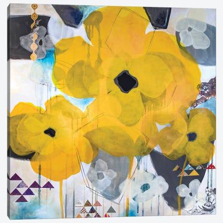 Yellow Poppies Canvas Print #MDR71} by Madara Mason Canvas Wall Art