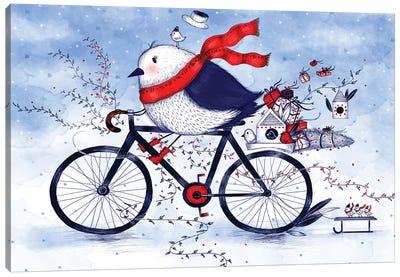 Christmas Bird On A Bike Canvas Art Print