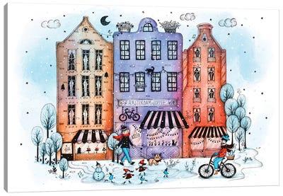 Amsterdam In Winter Canvas Art Print