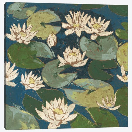Water Flowers I Canvas Print #MEA18} by Megan Meagher Canvas Wall Art