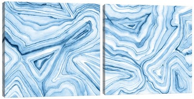 Indigo Agate Abstract Diptych Canvas Art Print