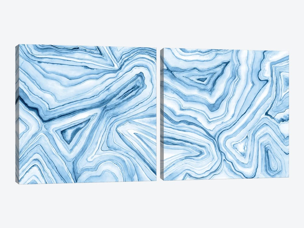 Indigo Agate Abstract Diptych by Megan Meagher 2-piece Art Print