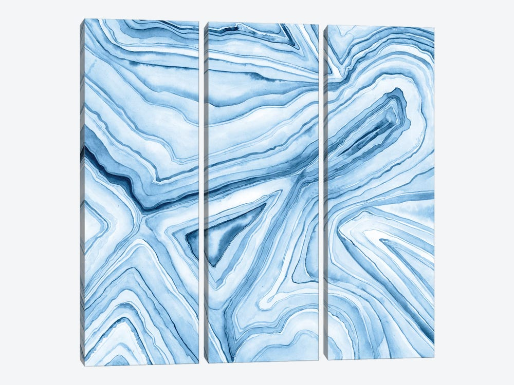 Indigo Agate Abstract I by Megan Meagher 3-piece Canvas Print