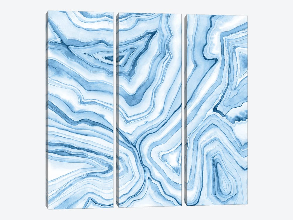 Indigo Agate Abstract II by Megan Meagher 3-piece Canvas Art