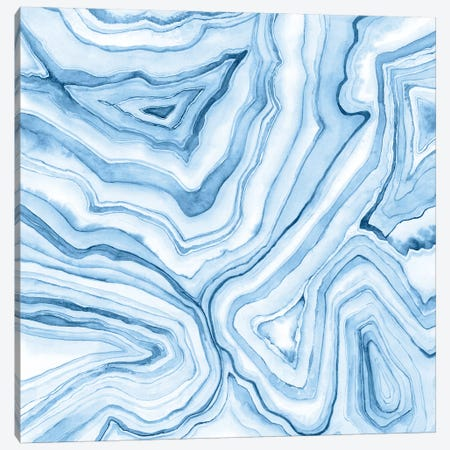 Indigo Agate Abstract II 3-Piece Canvas #MEA39} by Megan Meagher Canvas Art