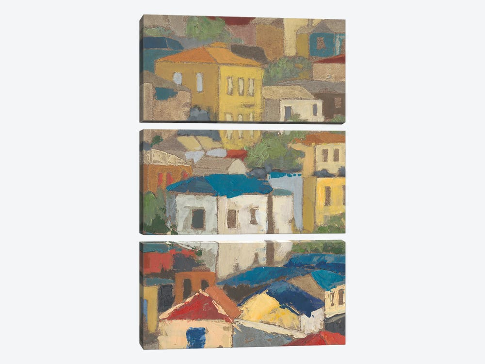 Primary Rooftops I by Megan Meagher 3-piece Canvas Art