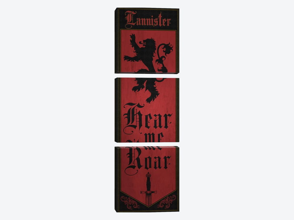 Banner of House Lannister by 5by5collective 3-piece Canvas Wall Art