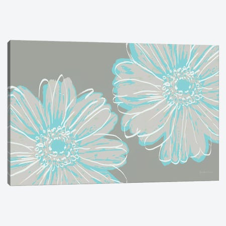 Flower Pop Sketch II-Blue and Taupe Canvas Print #MEC118} by Marie Elaine Cusson Canvas Print