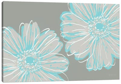 Flower Pop Sketch II-Blue and Taupe Canvas Art Print