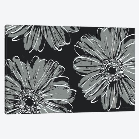 Flower Pop Sketch VII-Black BG Canvas Print #MEC122} by Marie Elaine Cusson Canvas Wall Art