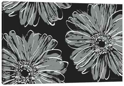 Flower Pop Sketch VII-Black BG Canvas Art Print