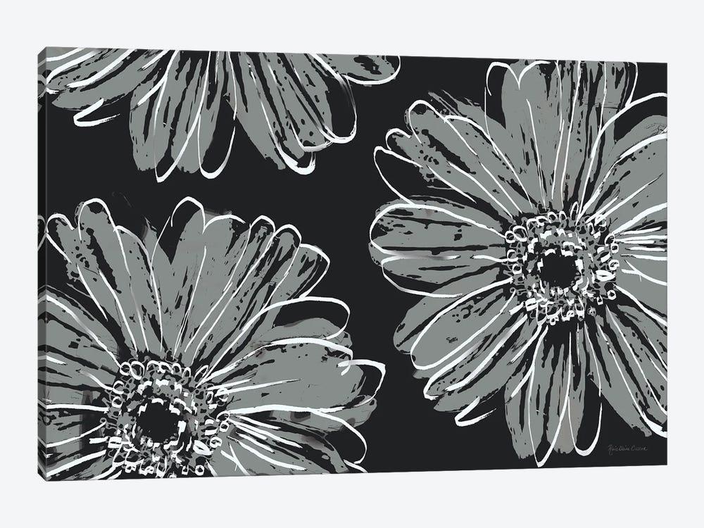 Flower Pop Sketch VII-Black BG by Marie Elaine Cusson 1-piece Canvas Print