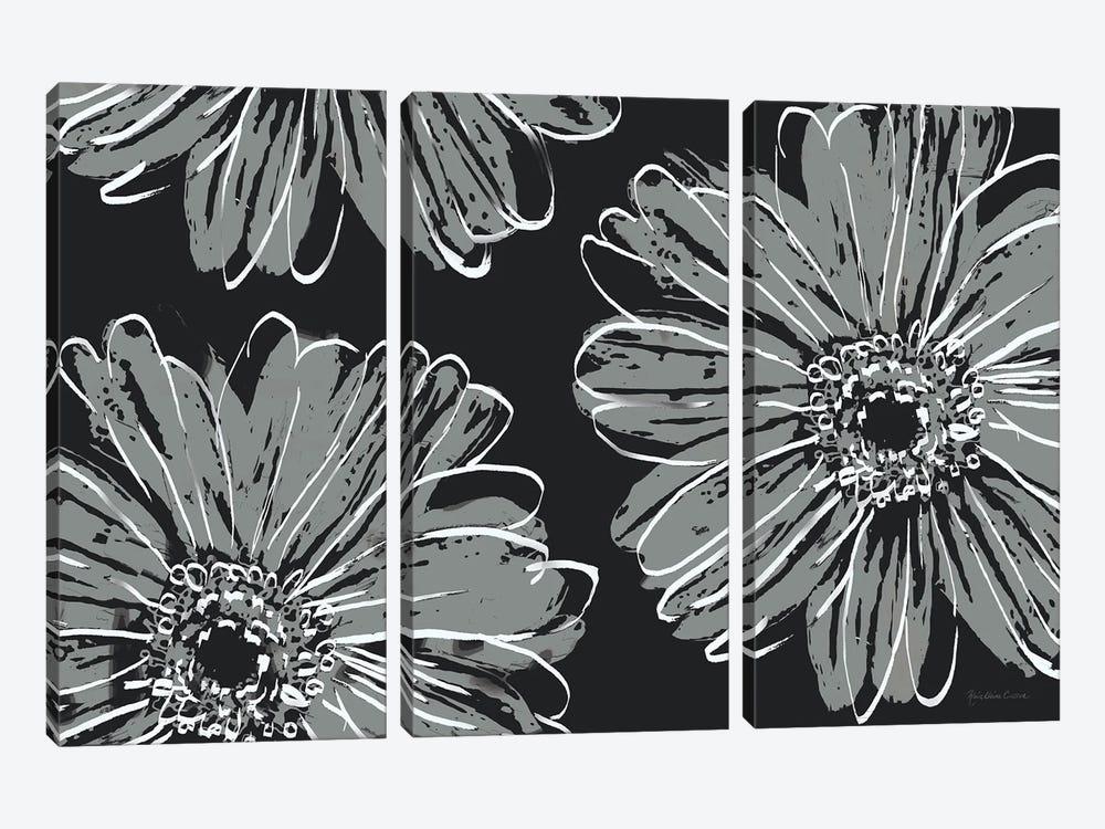 Flower Pop Sketch VII-Black BG by Marie Elaine Cusson 3-piece Canvas Art Print
