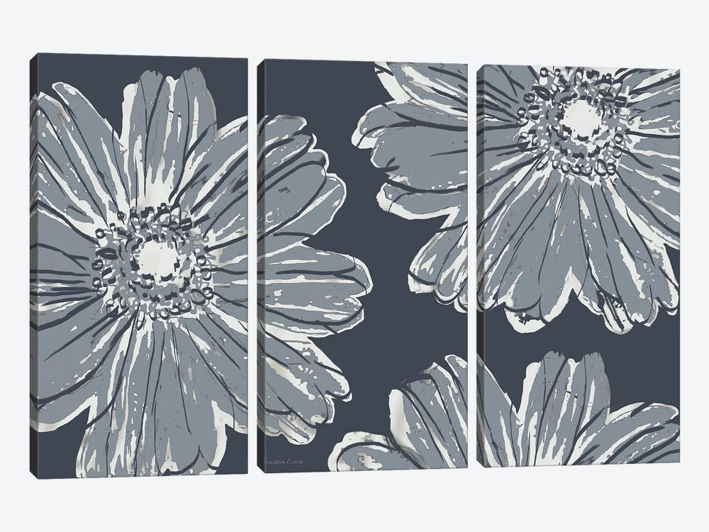 Flower Pop Sketch V-Shades of Grey by Marie Elaine Cusson 3-piece Art Print
