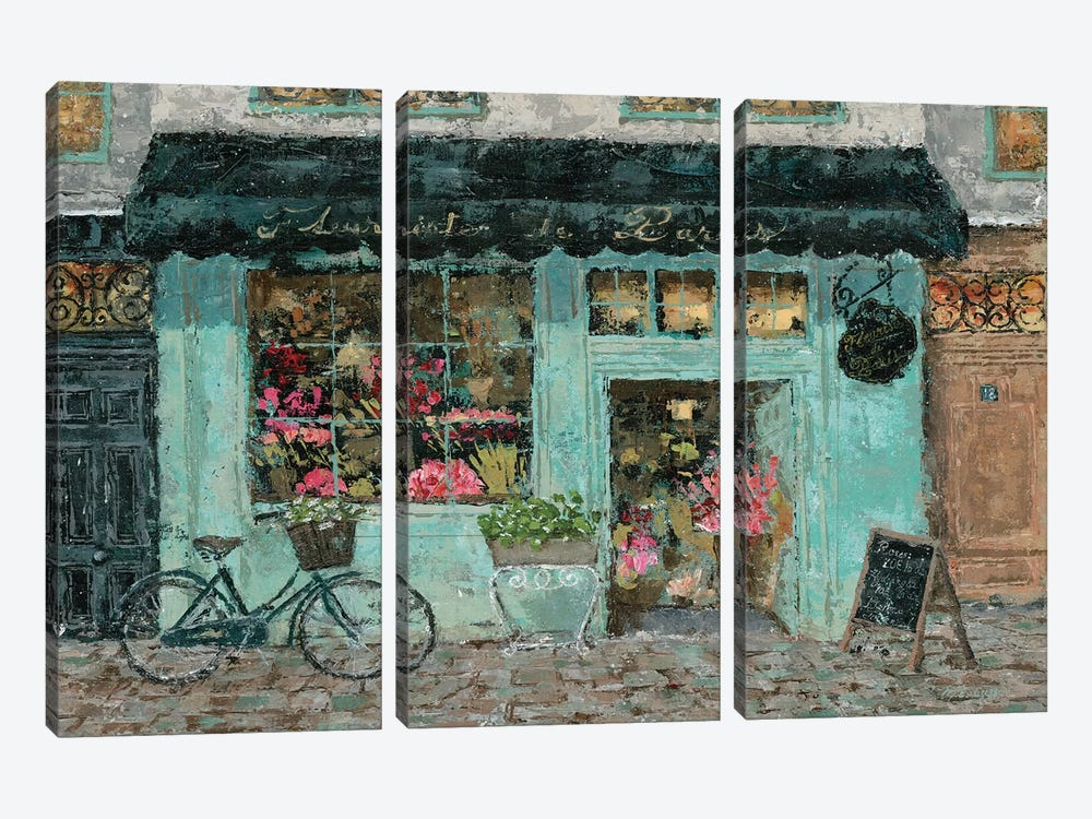 Parisian Flower Shop by Marie Elaine Cusson 3-piece Canvas Artwork