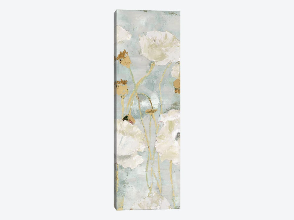 Poppies In The Wind Cream Panel I by Marie-Elaine Cusson 1-piece Canvas Art Print
