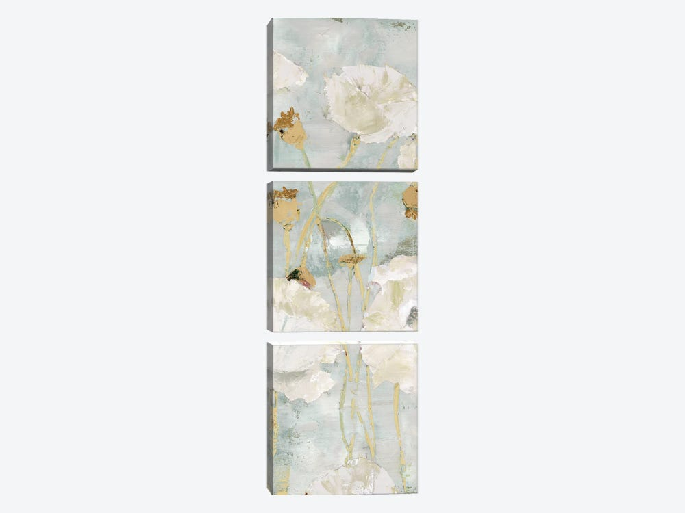 Poppies In The Wind Cream Panel I by Marie Elaine Cusson 3-piece Canvas Art Print