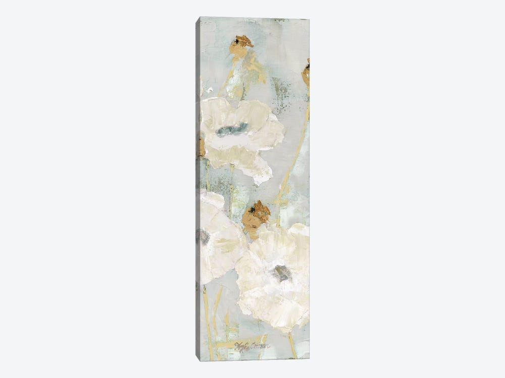 Poppies In The Wind Cream Panel II by Marie Elaine Cusson 1-piece Canvas Wall Art