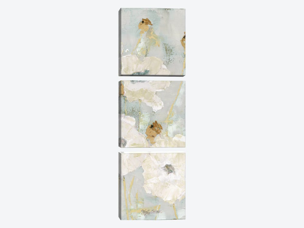 Poppies In The Wind Cream Panel II by Marie Elaine Cusson 3-piece Canvas Art