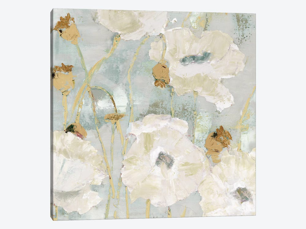 Poppies In The Wind Cream square 1-piece Canvas Print