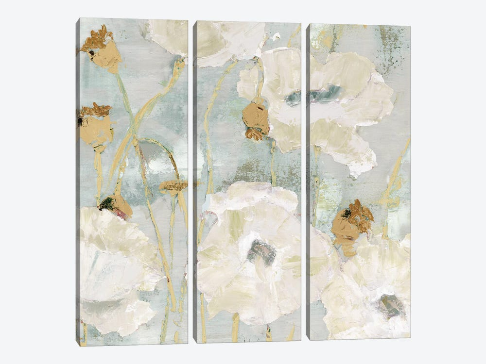 Poppies In The Wind Cream square 3-piece Canvas Art Print