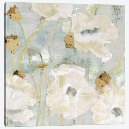 Poppies In The Wind Cream square Canvas Print #MEC26} by Marie Elaine Cusson Canvas Art