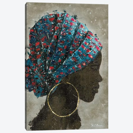Profile Of A Woman I (gold hoop) Canvas Print #MEC27} by Marie-Elaine Cusson Canvas Wall Art