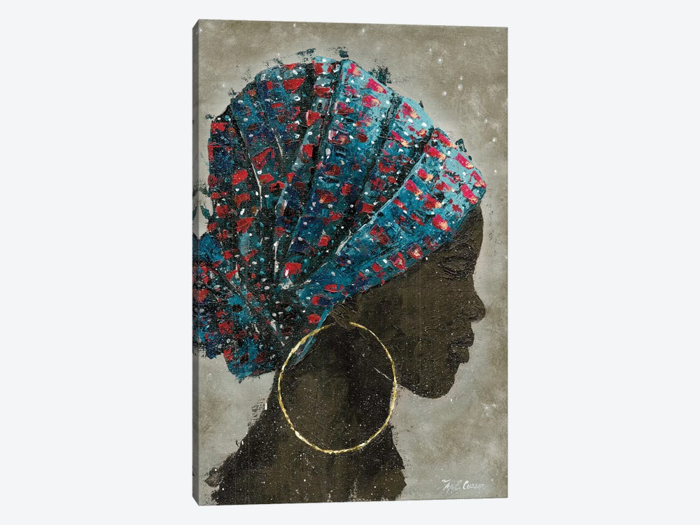 Profile Of A Woman I (gold hoop) by Marie Elaine Cusson 1-piece Canvas Art